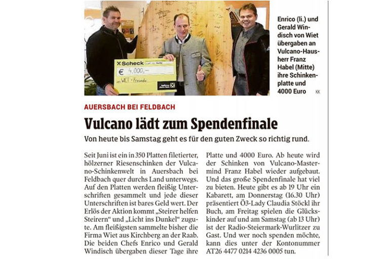 (German) Weihnachten 2018 – Vulcano Spendenaktion